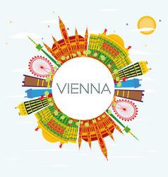 Vienna skyline with color buildings blue sky vector