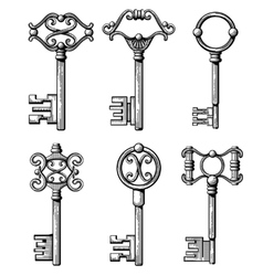 Vintage medieval keys antique chaves vector