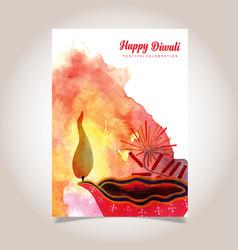 Watercolor diwali poster vector