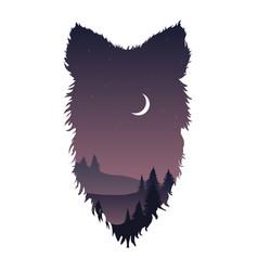 Wild wolf head silhouette vector