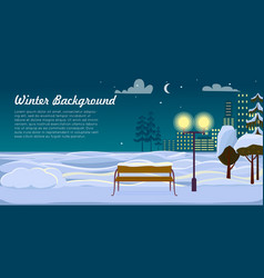 Winter background park landscape christmas night vector