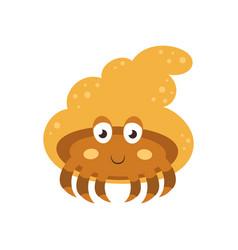 with cute cartoon hermit crab vector image
