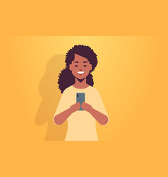 woman holding cellphone african american girl vector image