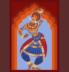 Young indian dances national dance she is dressed vector