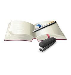 An open notebook with a stapler a pen and an vector image vector image
