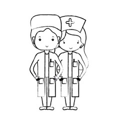 Figure doctor and nurse to help people vector