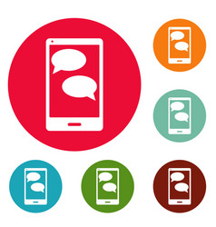mobile chat icons circle set vector image vector image
