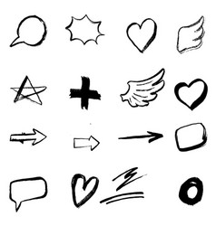 set of hand drawn icons isolated on white vector image vector image