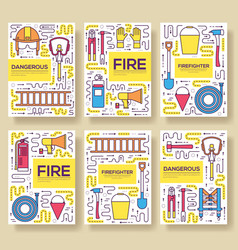 flat firefighter uniform brochure cards vector image