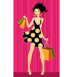girls shopping vector image