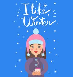 i like winter girl snowflakes vector image