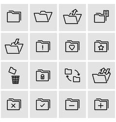 line folder icon set vector image