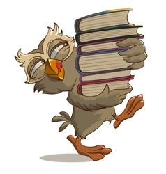 Satisfied owl carries books vector image
