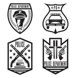 set of vintage police law enforcement badges vector image vector image