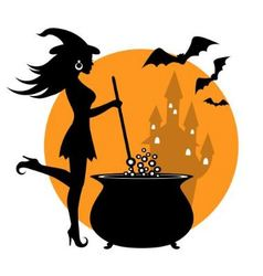 Beautiful witch and cauldron vector