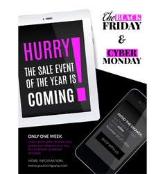 Black friday and cyber monday sale vector image vector image