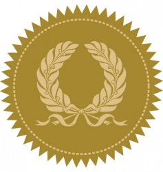 gold victory wreath seal vector image