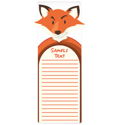 paper template with fox in background vector image vector image