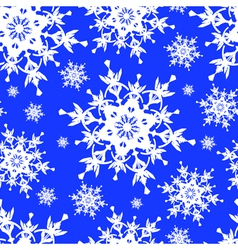 Seamless pattern blue with snowflakes vector image