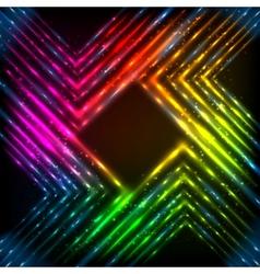 Abstract rainbow neon corners background vector image vector image