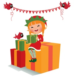 Christmas elf with gifts vector image