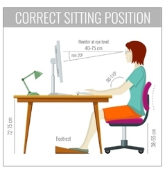 Correct spine sitting posture at computer health vector image vector image