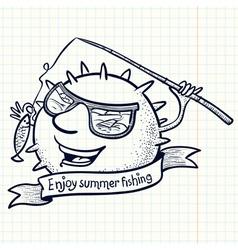 fishing sun vector image vector image