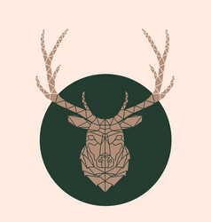 geometric deer face vector image vector image