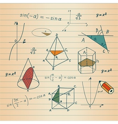 Mathematics - geometric shapes and expressions ske vector image vector image