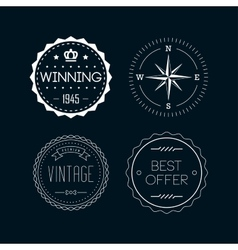 Vintage badges white 4 vector image vector image