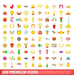 100 premium icons set cartoon style vector