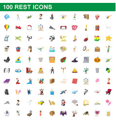 100 rest icons set cartoon style vector