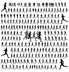250 different runners silhouettes collection vector