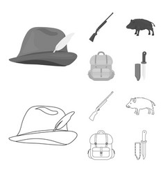 A hunting hat with a feather a wild boar a rifle vector