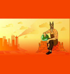 A man with a dogs head sitting on a rock vector