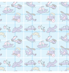 Baby Seamless Wallpaper Transportation vector image