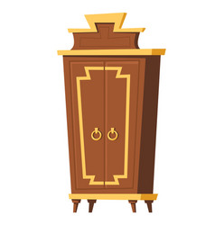 bedroom furniture wardrobe room interior cartoon vector image