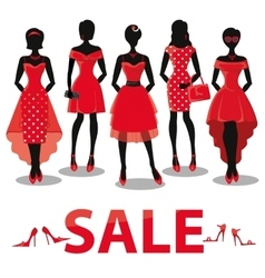 Black friday SaleRed party dressesaccessories vector image