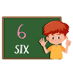 Boy with hand gesture number vector