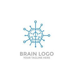 Brain logo template tech icon vector