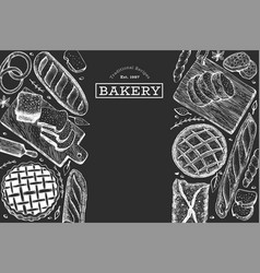 bread and pastry background bakery hand drawn on vector image