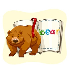 Brown bear standing by a book vector
