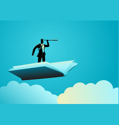 businessman using telescope on flying book vector image
