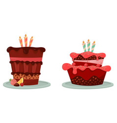 cakes with lemon and berry candle icon vector image