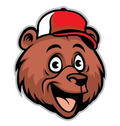 cartoon cheerful bear head wearing a baseball cap vector image