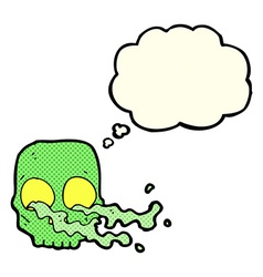 Cartoon gross skull with thought bubble vector