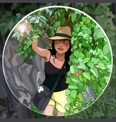Cartoon woman traveler sneaks through the jungle vector