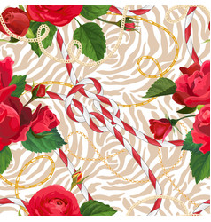 Chains zebra skin and flowers seamless pattern vector