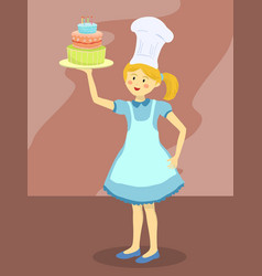 Chef girl with birthday cake vector
