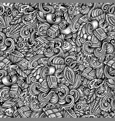 chocolate hand drawn doodles seamless vector image